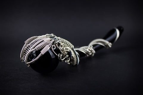 Chameleon Glass With Nikki Wire Wrap Snake Gandalf Hand Pipe - Brothers with Glass - 2
