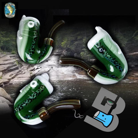 603 Glass Fish Whistle Wood Tip Sherlock Hand Pipe