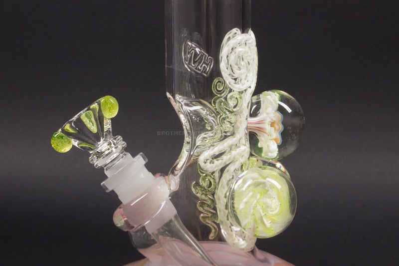 HVY Glass Illuminati Coiled Color Bubble Bottom With Marbles Bong - Pink