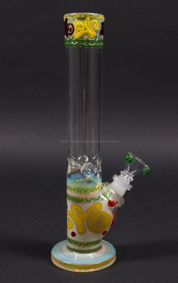 HVY Glass Straight Colored Coil Bong - Rasta