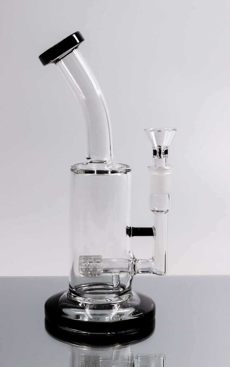 No Label Glass Bent Neck Inline Matrix Dab Rig Color Accents