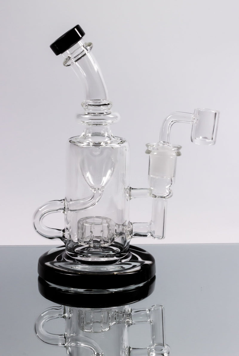 No Label Glass Klein Recycler Dab Rig Color Accents