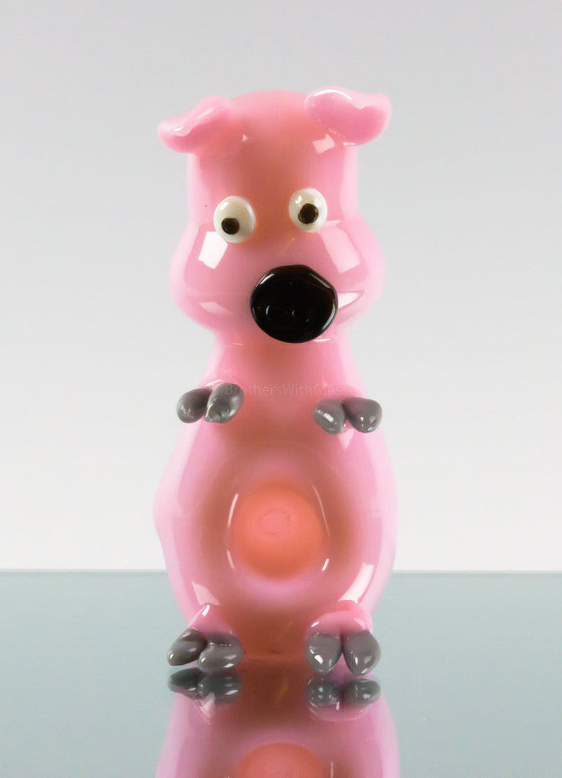 Blowfish Glassworks Sculpted Glass Pig Hand Pipe