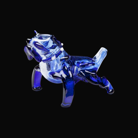 Chameleon Glass Blue Bulldog Hand Pipe