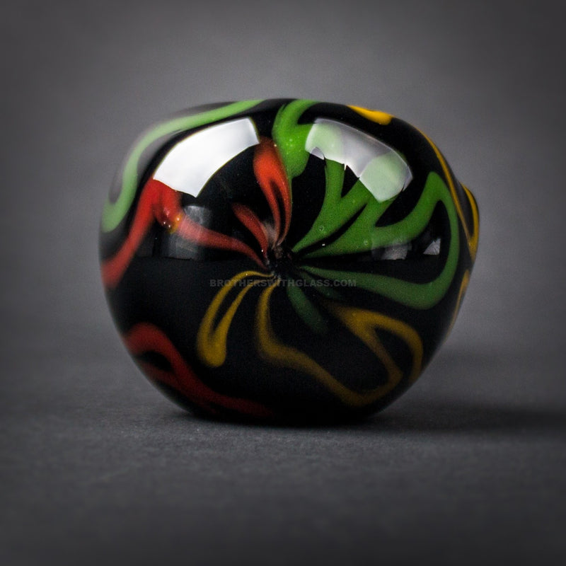 Chameleon Glass Swizzler Hand Pipe - Onyx With Rasta
