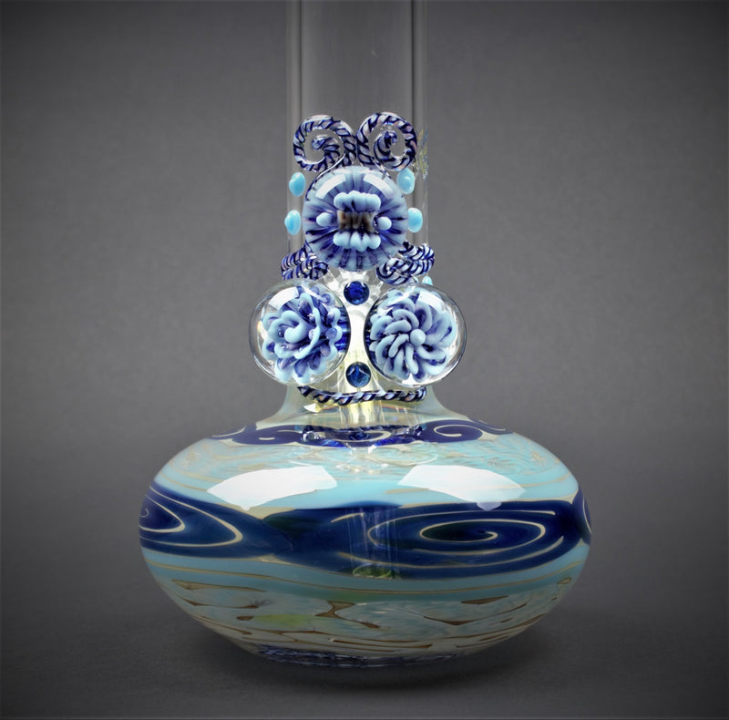 HVY Glass Color Coiled Bubble Bottom Water Pipe With Marbles - Blue
