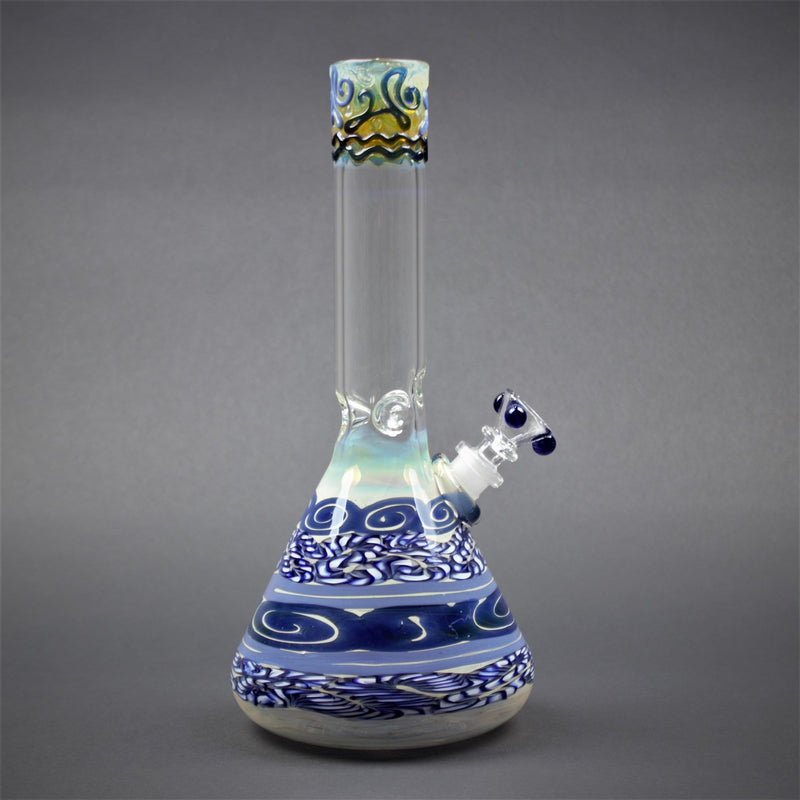 HVY Glass Color Coiled Beaker Bong - Blue