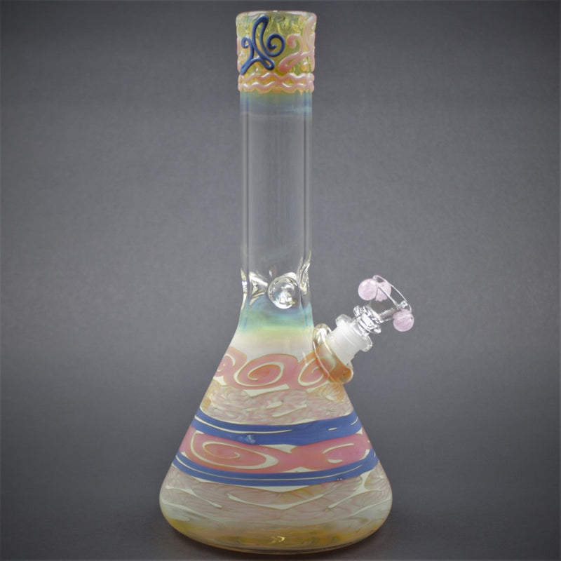 HVY Glass Color Coiled Beaker Bong - Cotton Candy