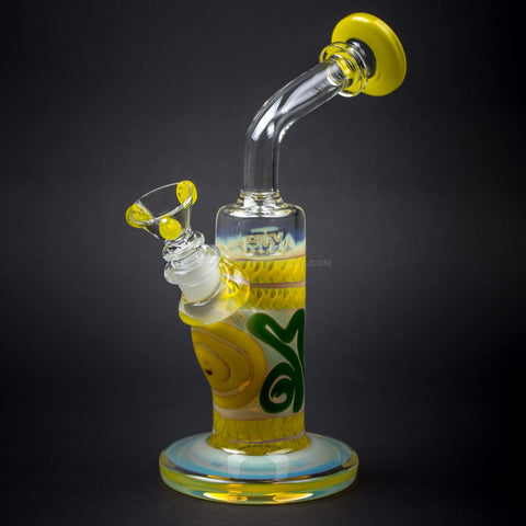 HVY Glass Color Coiled Bent Neck Water Pipe - Yellow