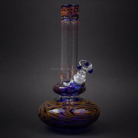 HVY Glass WRKD Double Bubble Bottom Water Pipe - Fumed Cobalt