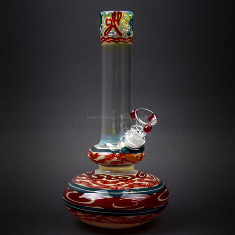 HVY Glass WRKD Double Bubble Bottom Water Pipe - Red White and Blue