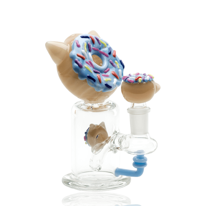Empire Glassworks Mini Blue Kitty Donut Dab Rig