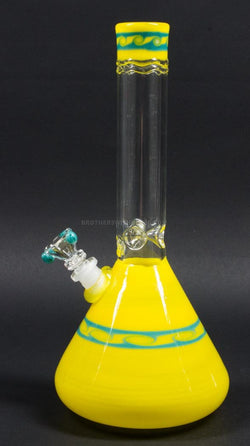 HVY Glass Coiled Color Beaker Water Pipe - Yellow With Waves