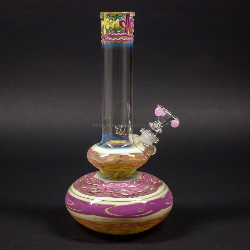 HVY Glass Worked Color Cane Double Bubble Bong - Pink