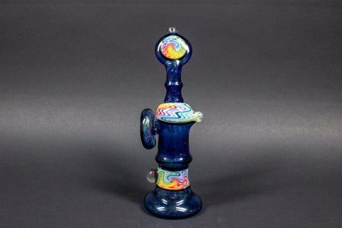 Chasteen Glassworks Blue Wig Wag Bubbler