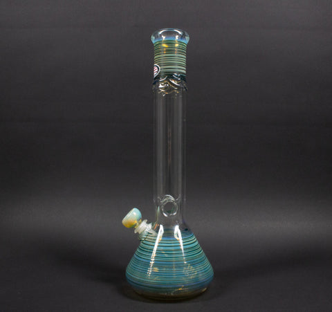 Mary Jane's Glass 14 Inch Color Coiled And Fumed Beaker Bong