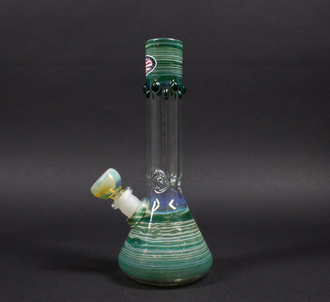 Mary Jane's Glass 8 Inch Color Coiled And Fumed Beaker Bong