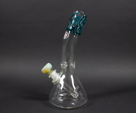 Mary Jane's Glass Bent Neck Beaker Bong With Color Accents