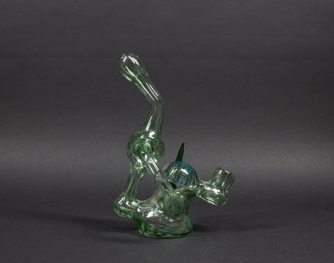 Mad Hatters Glass Recycler Dab Rig With Color Accents