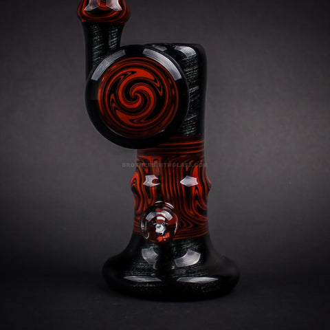 Chasteen Glassworks Steel Wool and Red Wig Wag Bubbler