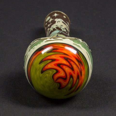 Liberty 503 Sandblasted Triple Frit Wig Wag Hand Pipe - Alien Life