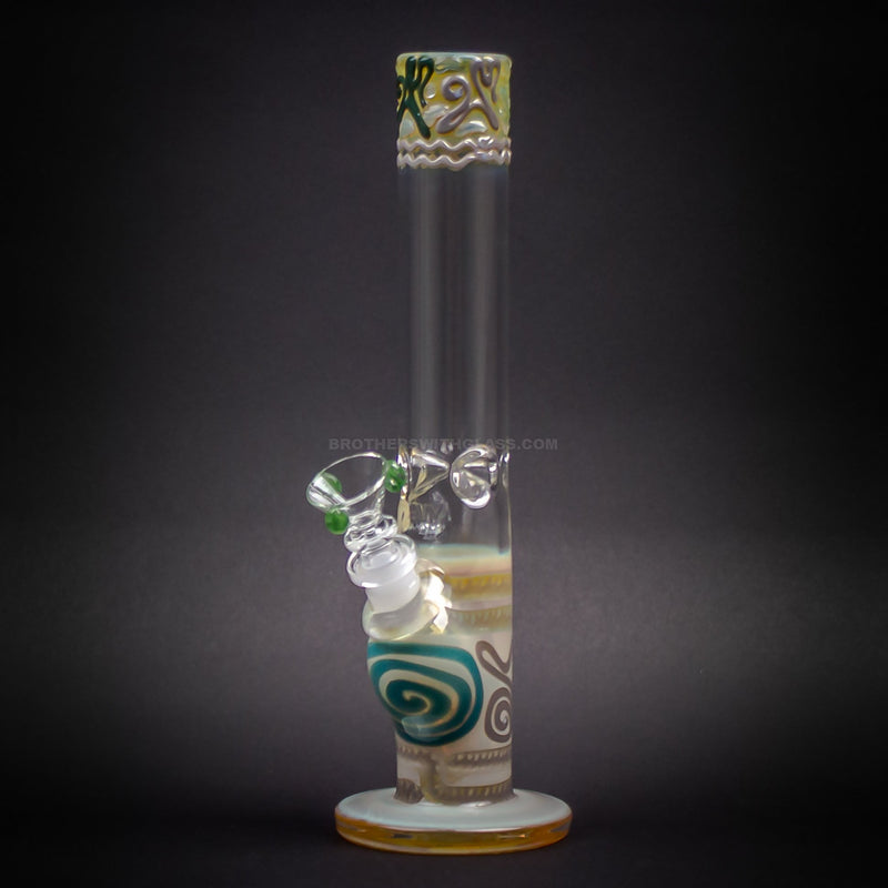 HVY Glass Straight Colored Coil Bong - Natural