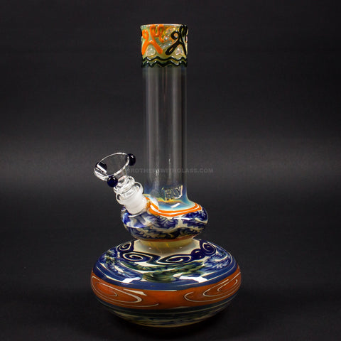 HVY Glass Worked Color Cane Double Bubble Bong - The Blues