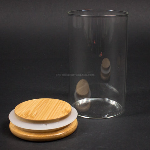 No Label Glass Stash Jar With Wooden Lid