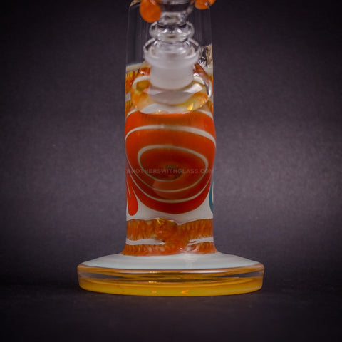 HVY Glass Color Coiled Bent Neck Water Pipe - Orange