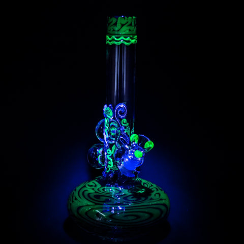 HVY Glass Illuminati Coiled Color Bubble Bottom With Marbles Bong - Metallic