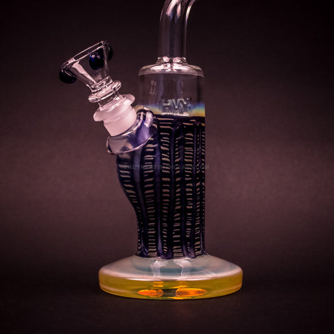 HVY Glass Color Raked Bent Neck Bong - Blue