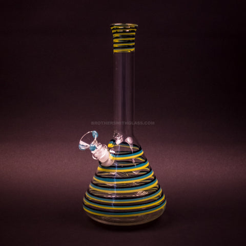 HVY Glass Color Striped Beaker Water Pipe - Teal and Yellow