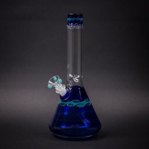 HVY Glass Worked Beaker Bong - Blue with Waves