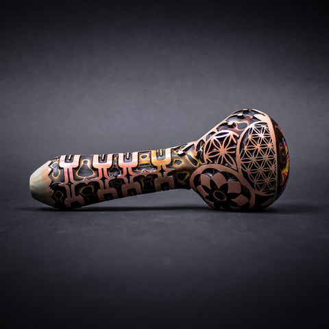 Liberty 503 Deep Carve Wig Wag Hand Pipe - Flower of Life