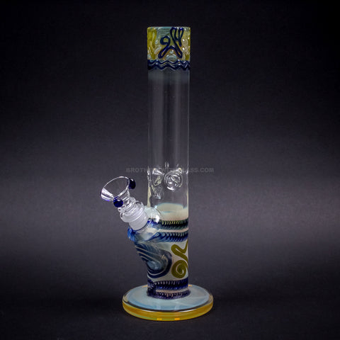 HVY Glass Straight Colored Coil Bong - Blue