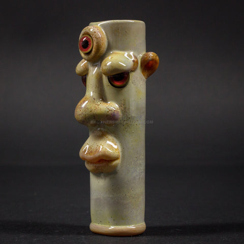 Wyomingmofo Glass Third Eye Face Frit Chillum Hand Pipe