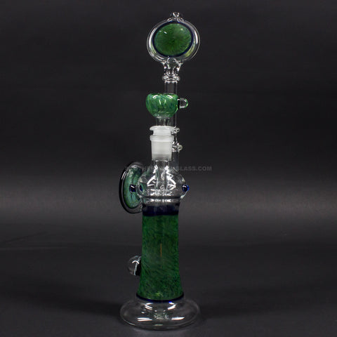 Chasteen Glassworks Green Frit Bent Neck Bubbler