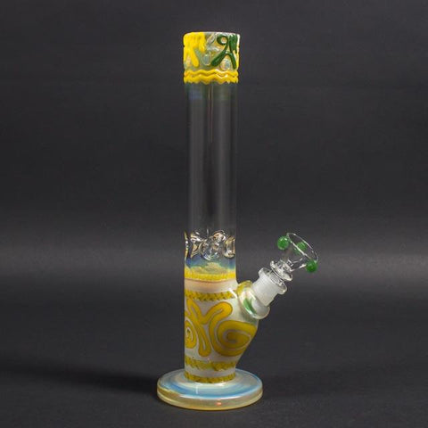 HVY Glass Straight Colored Coil Bong - Yellow