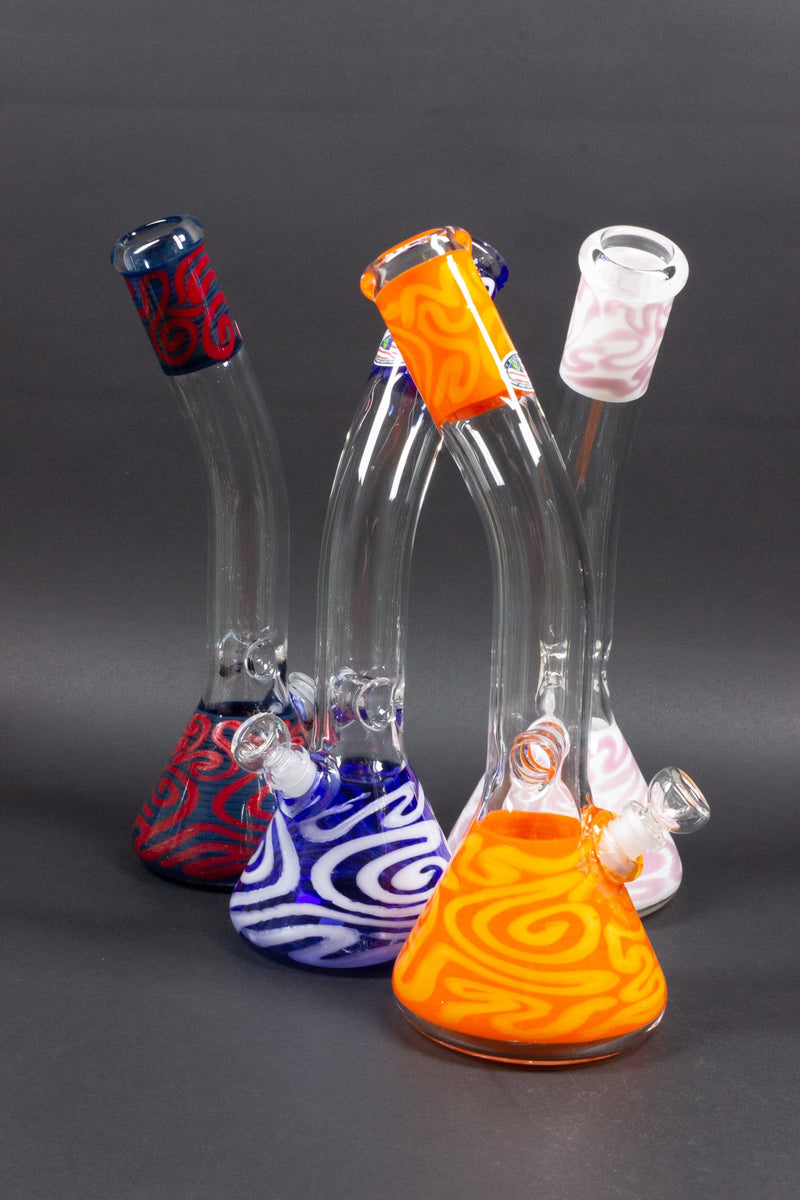 Mary Jane's Glass Bent Neck Double Color Coiled Beaker Bong