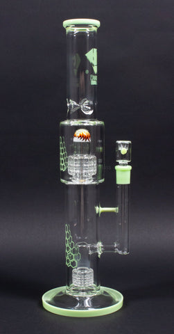 Diamond Glass 16 Inch Worked Double Matrix Perc Bong