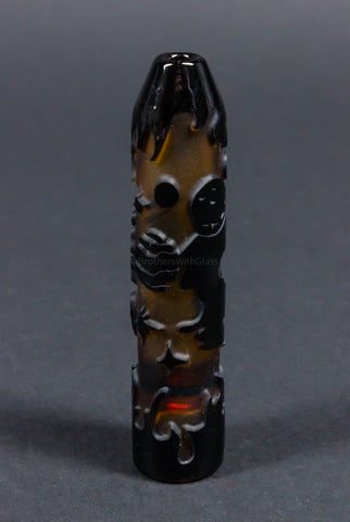 Liberty 503 Sandblasted Black One Hitter Frit Chillum Hand Pipe - Outer Space