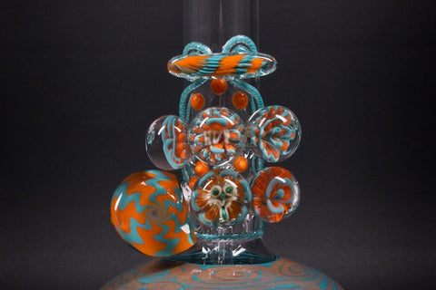 HVY Glass 18 Inch Bubble Bottom Atlas Bong With Marbles - Teal and Copper