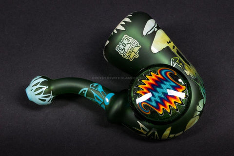 Liberty 503 Glass Sandblasted Sherlock With Wig Wag Disc Hand Pipe - Mushrooms