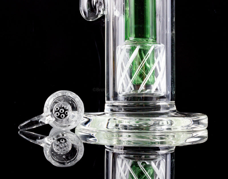 No Label Glass Double Gridded Showerhead Perc Bong
