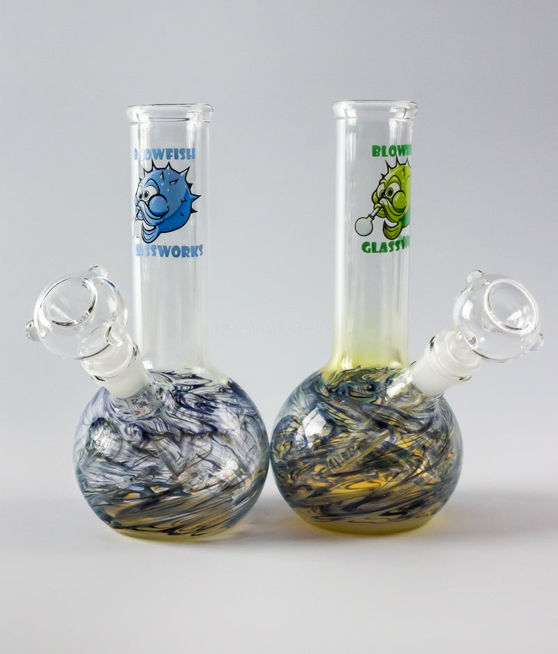 Blowfish Glassworks 8 In Wrap and Raked Bubble Bottom Bong