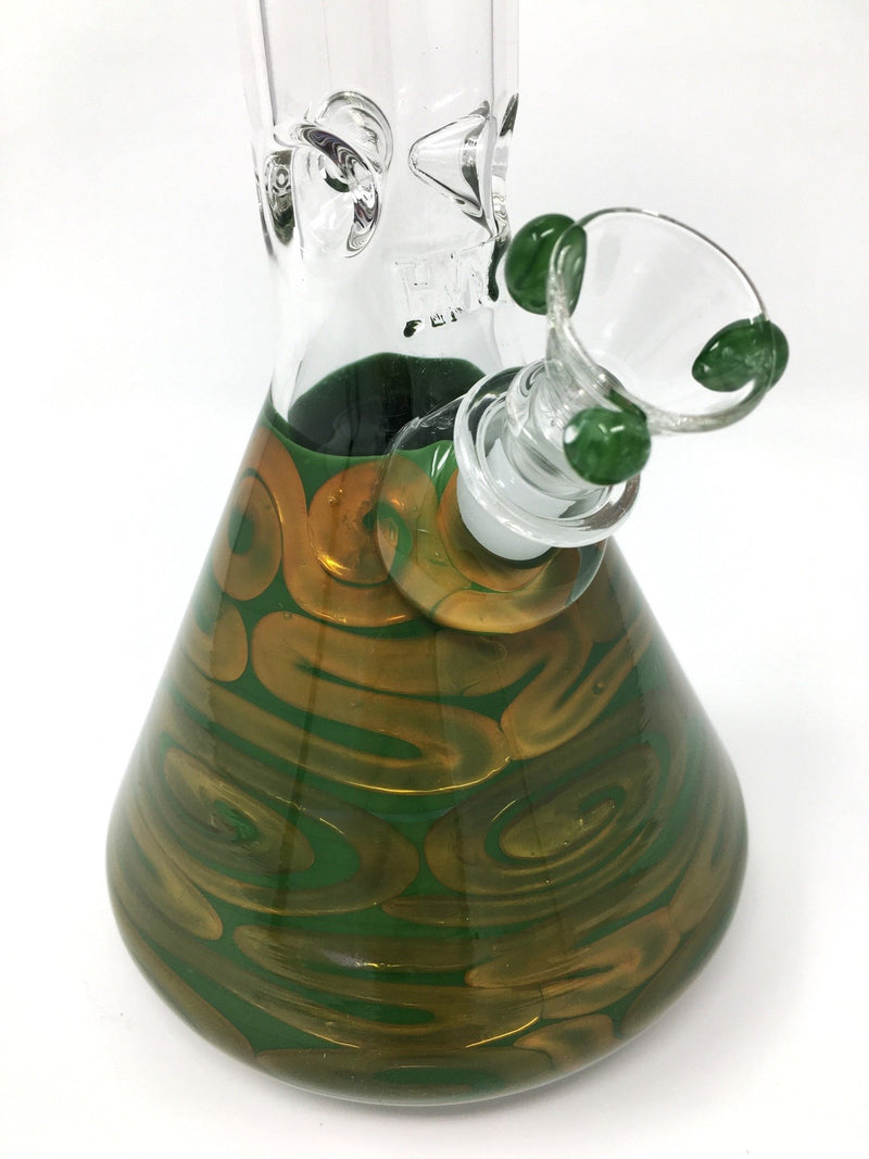 HVY Glass Worked Coil Beaker Bong - Forest Green