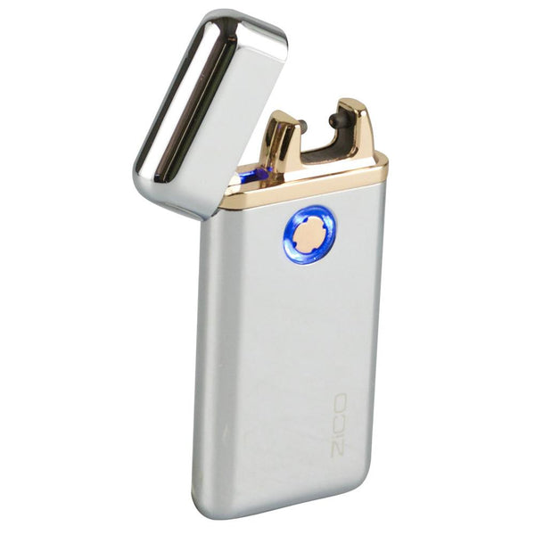 Thin Flip Top Plasma Lighter - Silver