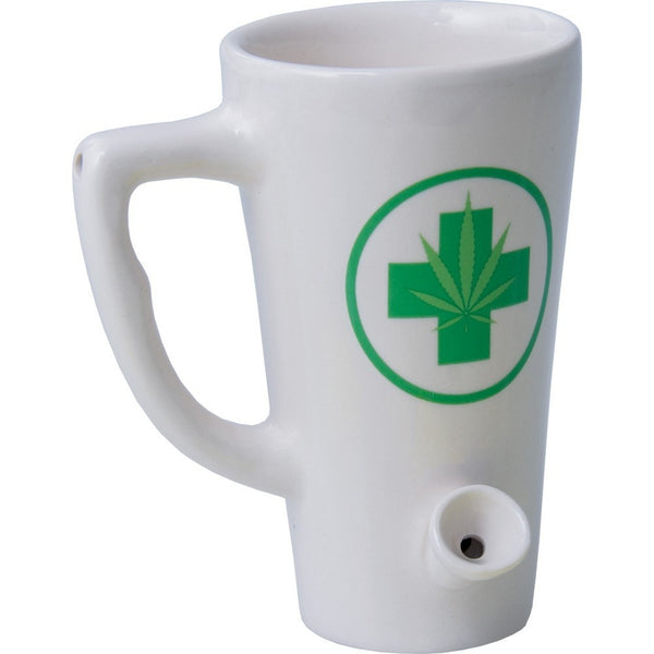 Medical Cannabis Coffee Mug Hand Pipe - Brothers with Glass - 1