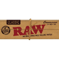 Raw Classic Hemp 1 1/4 Connoisseur Rolling Papers Plus Tips