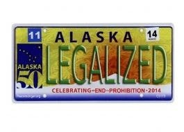 Alaska Legalized License Plate Sticker - Brothers with Glass